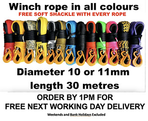 Synthetic winch rope UHMWPE choice of size 8  9 10 or 11mm Free Soft Shackle