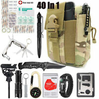 40PCS Military Survival Kit Outdoor Camping Emergency Gear Tools Molle Pouch Bag