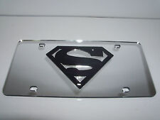 Superman Mirror Laser License Plate Silver/Black  NEW!!
