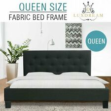 NEW Queen Size Heavy Duty Steel Frame Charcoal Linen Fabric Padded Bed Frame