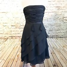WHBM Black Chiffon Ruffle Layered Strapless Dress Cocktail Party LBD Size 2 EUC
