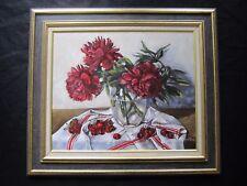 """Superbe nature morte par Gérard Lafargue XXe """"les cerises prés du vase de fleurs"""