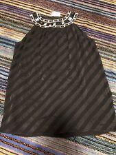 Dana Buchman Black Blouse W/ Crystallized Swarovski Nieman Marcus NWT Silk
