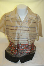 Vintage Holo Holo Brown Stripe Hawaiian Shirt Size XL Made in USA