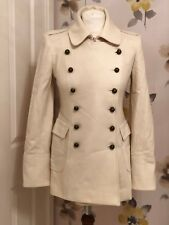 RIVER ISLAND CREAM WOOL STYLE DOUBLE BREASTED COAT – UK 8