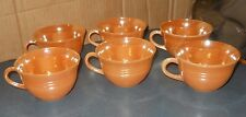 VINTAGE LOT 6 FIRE KING GLASS OVEN WARE PEACH LUSTER COFFEE TEA CUP 3 7/8""