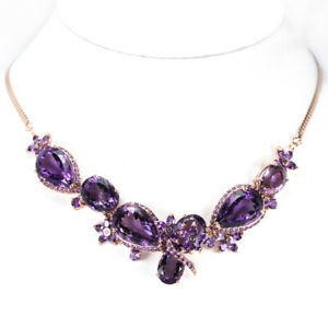 86.90 CT. REAL AAA PURPLE AMETHYST STERLING 925 SILVER FLOWER NECKLACE 18 INCH.