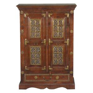 Brass Work Iron & Brass Mango Wood Freestanding Cabinet (Made To Order)