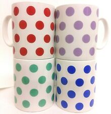 SALE Blue Green Purple Red Spots Mugs Set of 4 Porcelain Cups Hand Decorated UK