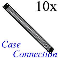 """10x 1HE Rackblende - Lüftungslöcher - gekantet - Stahl # 19"""" Frontplatte 19 Zoll"""