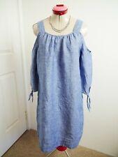 SUSSAN White Blue 100% Linen DRESS Size 10 Cold-Shoulder 3/4 Sleeve Shift Casual