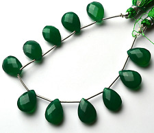 """Natural GREEN Chalcedony Faceted PEAR SHAPE Briolettes Beads 13 MM  6.5"""""""