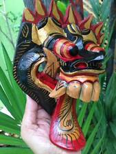 Dragon Mask Bali Tribal Tongue Demon Wood Barong Hand Carved Painted Decor Wall