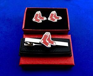 Boston Red Sox Tie Clip & Cufflink Set Red Sox Socks Tie Bar Baseball Team Sport