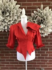 VTG 1980s Thierry Mugler Women's Italian Sz 42 Red Skirt Suit W/ Snap Blazer EUC