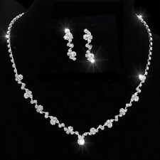 Beautiful Silver PL Crystal Tennis Choker Necklace Set Wedding Bridal Bridesmaid