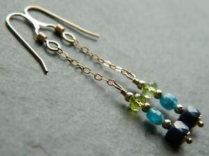 Natural SAPPHIRE, APATITE & PERIDOT Faceted Gemstones & 14K Rolled Gold Earrings