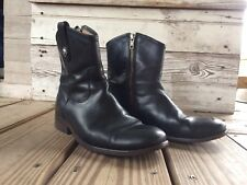 Frye Melissa Button Short Black Leather Riding Boots 7 Bootie MSRP $298