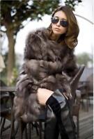 100% Real Genuine Women long Silver Fox Fur coat Outwear ladies jacket luxury