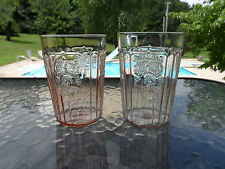 "PINK MAYFAIR ""OPEN ROSE"" 4 1/4"" WATER TUMBLERS HOCKING DEPRESSION GLASS 1931-37"