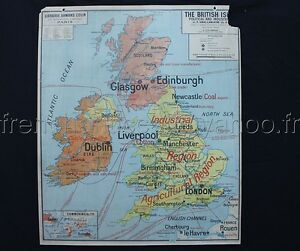 Famous French antique school map British Isles Political Physical Industrial ++