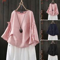 ZANZEA 8-24 Women Flare Bell Sleeve Blouse Tee Top Office Ladies Cotton Shirt