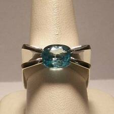 Blue Zircon Oval Art Deco Solitaire Ring Set in 14k White Gold