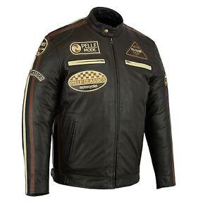 PELLE Fashion motorbike motorcycle leather jacket with badges