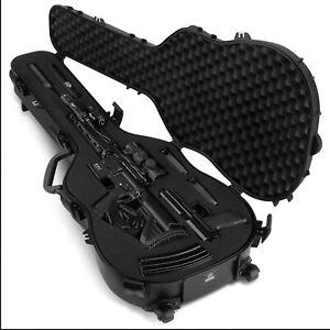 Savior Equipment Lockable Single Rifle Rolling Padded Guitar Gun Case, Black