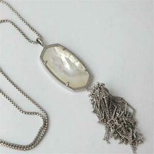 Kendra Scott Rayne Silver long Pendant Necklace in Mother of Pearl