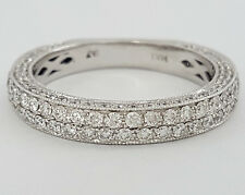 0.83 ct 14K White Gold Round Cut Diamond Wedding / Anniversary Double Rows Ring