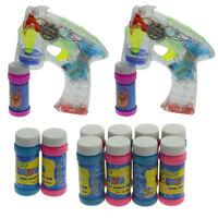 1 - 5x Seifenblasenpistole Bubble Gun mit LED & Sound + 2 - 20x Seifenwasser