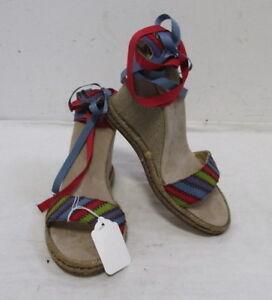 $225 MARC JACOBS canvas wedges shoes w multi color print straps sz 37/7