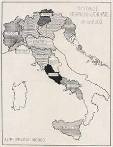 E0585 Italy - Timing Tourism Foreign - 1927 Map Period - Vintage Map