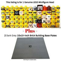 1 LEGO Minifigure Head PLUS 2 Dark Grey 10x10-inch 32x32 compatible base plates