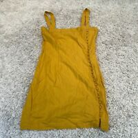 FOREVER 21 Womens Pinafore Dress Medium Linen Mustard Yellow Buttons