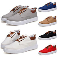 Mens Casual Comfort Walking Smart Shoes Lace Up Flats Sneakers Trainers Canvas