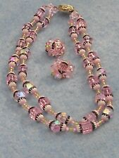 1950's PINK BEADED NECKLACE AND EARRING to Match~Western Germany