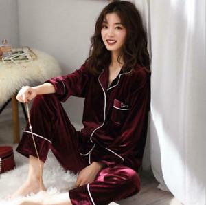 Women Velvet Button Pocket Collared Long Sleeve 2Pcs/set Suit Homewear Sleepwear