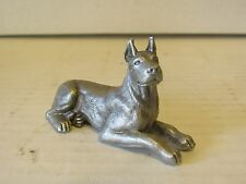 """Vintage Pewter Great Dane Puppy Dog 1.5"""" x 2.5"""" Full Body Fort Figure Miniature"""