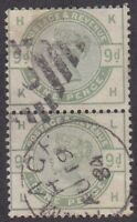 GB109) Great Britain 1883 9d Dull Green, SG 195 Vertical Pair Used in Ireland!