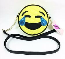 NEW BETSEY JOHNSON YELLOW+BLACK VINYL LAUGHING FACE,EMOJI CROSS BODY,HANDBAG