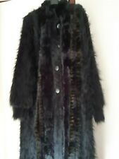 "90% Angora Black Coat / Sweater / Cardigan w Fur Trim. 53"" / 134 cm LONG Size XL"