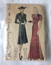 No Instructions - Vintage 1938 Simplicity Womens Dress Sewing Pattern Size 38