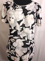 Karl Lagerfeld Blouse Size Small Black Floral Sheer Tiers Pearls Keyhole Sh-Slv