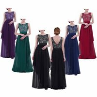 Womens Lace Elegant Wedding Bridesmaid Chiffon Sleeveless Maxi Formal Long Dress