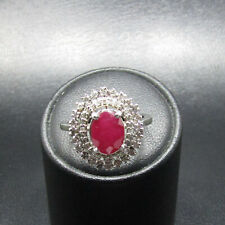 14ct White Gold Burmese Ruby and Diamond Cluster Ring Size N 3.88g Certificate