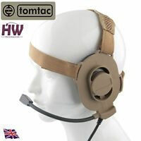 AIRSOFT TOMTAC BOWMAN ELITE II 2 HEADSET BOOM MIC TAN SAND DE HELMET RADIO UK
