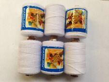 6 x HEAVY DUTY 500M White SPOOLS 100% POLYSTER QUILT SEWING THREAD