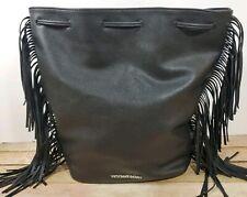 Victoria Secret Black Drawstring Fringe Backpack/Purse Faux Leather